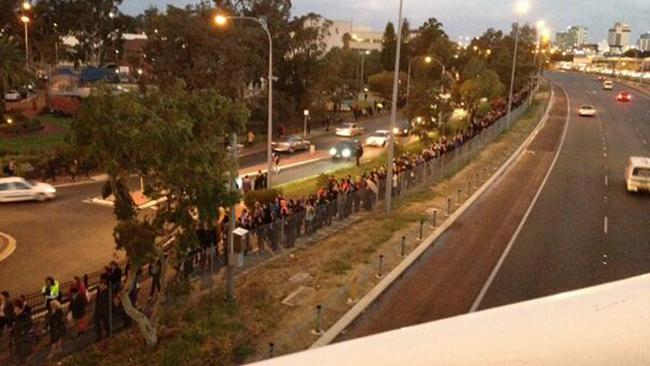 Perth commuter Jess Louise snapped this shot of commuters lining up for replacement buses after trains were cancelled between Leederville and Stirling. Picture: Jess Louise, Twitter