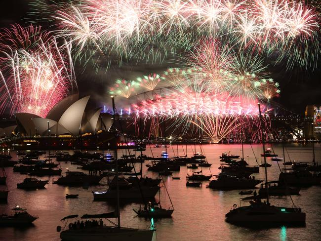 Epic light show ... more than a million gathered in Sydney to see the fireworks. Picture: Britta Campion/ The Australian