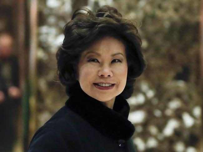 Elaine Chao arrives at Trump Tower in New York, to meet with President-elect Donald Trump. Picture: AP.
