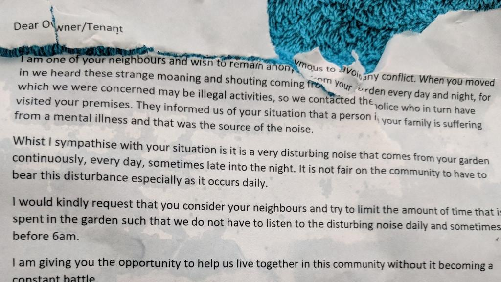The letter to Ms Quinn from an anonymous neighbour.