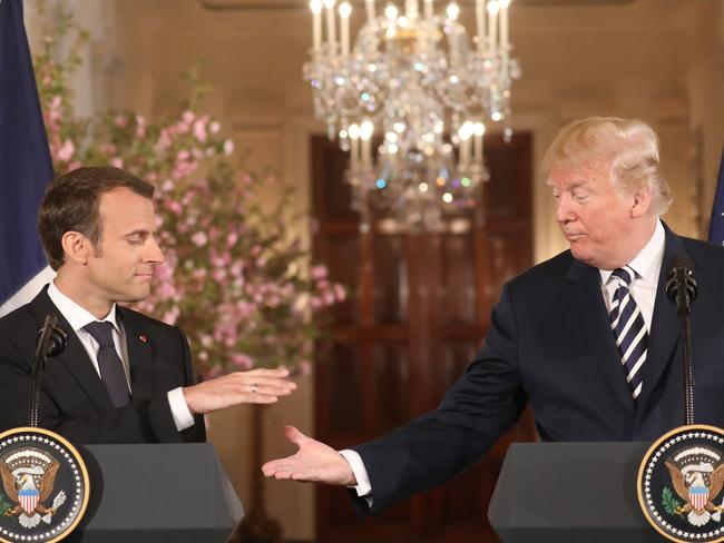 French President Emmanuel Macron and US President Donald Trump give a joint press conference at the White House in Washington, DC. Picture: AFP