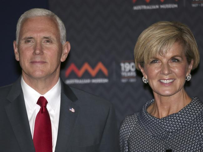 US Vice President Mike Pence, left, and Australian Foreign Minister Julie Bishop pose for a photo during a visit to the Australian Museum in Sydney. Picture: David Moir/AP