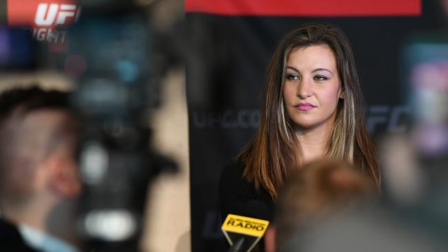 Miesha Tate was the star attraction at yesterday's UFC media day at the Melbourne Convention and Exhibition Centre yesterday — even though she won't be fighting tomorrow. Picture: Getty Images