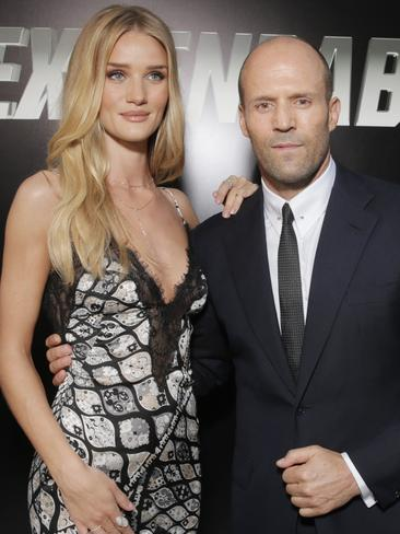 Rosie Huntington-Whiteley and Statham attend the film's LA premiere. Picture: AP