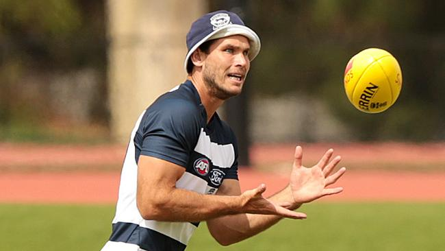 The Cats surprised by picking Tom Hawkins. Picture: Alison Wynd