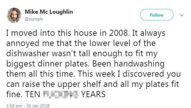 Mike McLoughlin made a small tweak to his dishwasher and it changed everything. Picture: Twitter