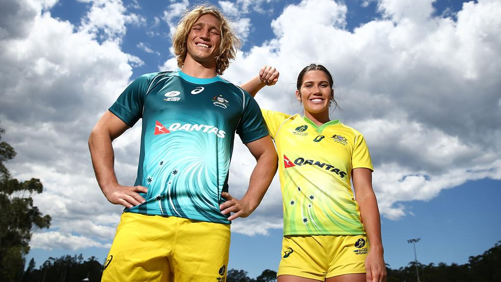 Chloe Dalton and Charlotte Caslick model the new Australia sevens jerseys.