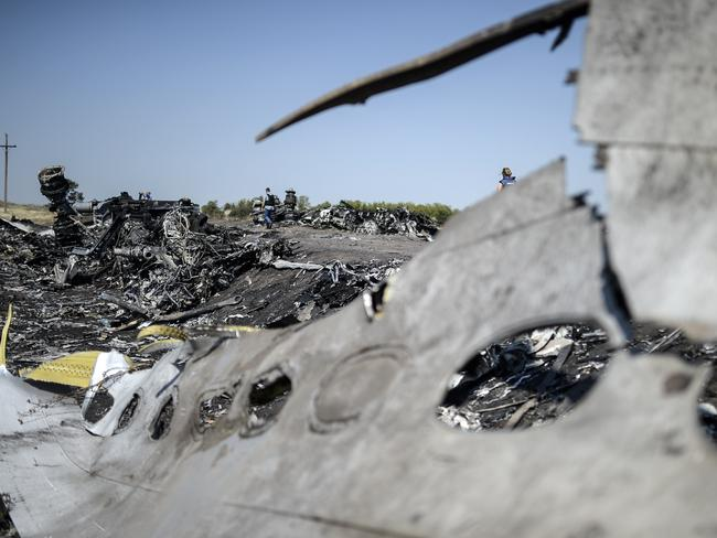 Crash site ... a part of the Malaysia Airlines Flight MH17 in the village of Hrabove (Grabovo), some 80km east of Donetsk. Picture: AFP