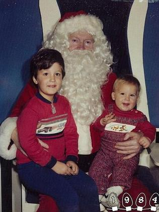 1984 ... Martin joins his older brother Mike and Santa. Picture: Martin Gray