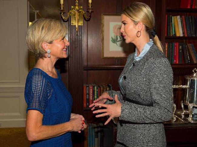 Australian Foreign Minister Julie Bishop meeting with Ivanka Trump at the United Nations. Photo: AAP / Andrew Kelly