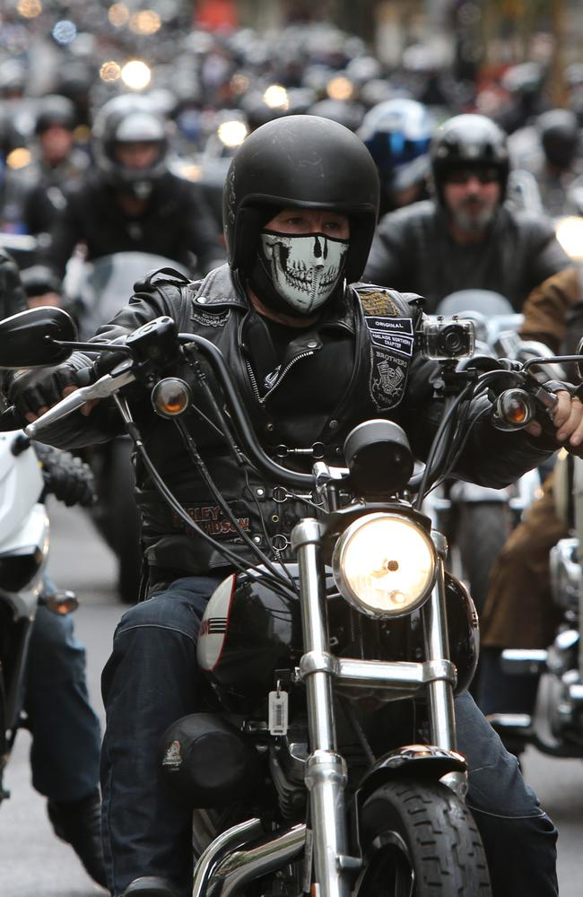 Hundreds of bikies ride through Adelaide to Parliament House in 2013 to protest anti-bikie laws. Picture: Tait Schmaal.