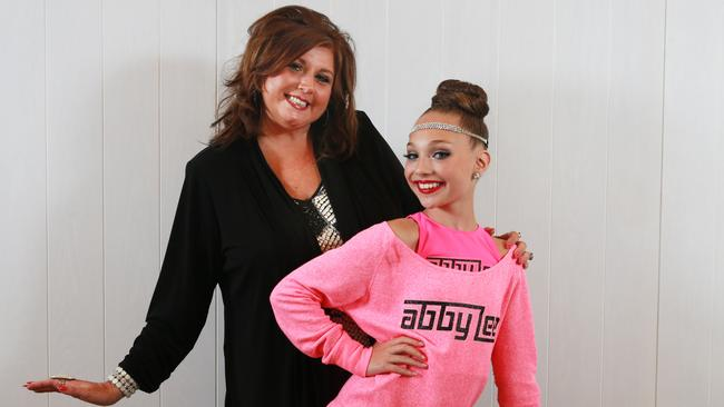 Star of the US show Dance Moms Abby Lee Miller (L) and Maddie Ziegler pictured at Randwick Racecourse where they held a dance master class for thousands of screaming tween fans. Picture: Toby Zerna