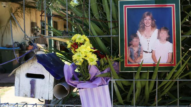 A memorial to victim Sally Rothe on Albert Terrace, Murray Bridge. Picture: AAP / Emma Brasier