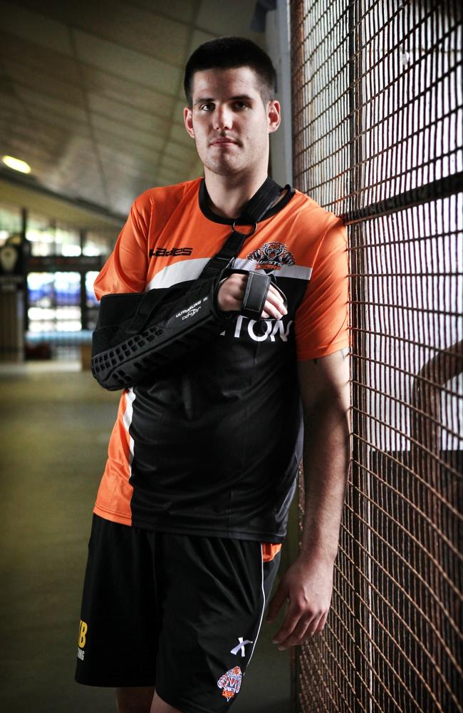 Injured Wests Tigers NRL player Simon Dwyer.