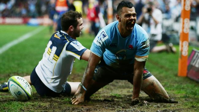 Kurtley Beale celebrates scoring a try for the Waratahs in the semi-final win over the Brumbies.