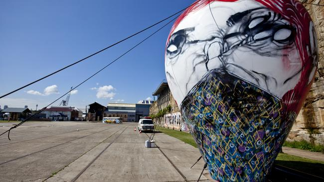 Inflatable artwork by Anthony Lister at the Outpost Project on Sydney's Cockatoo Island in 2011. Pic: Charles Brewer.