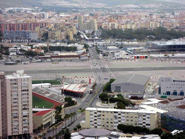 The Gibraltar Airport, by the highway. Picture: D-Stanley, Flickr