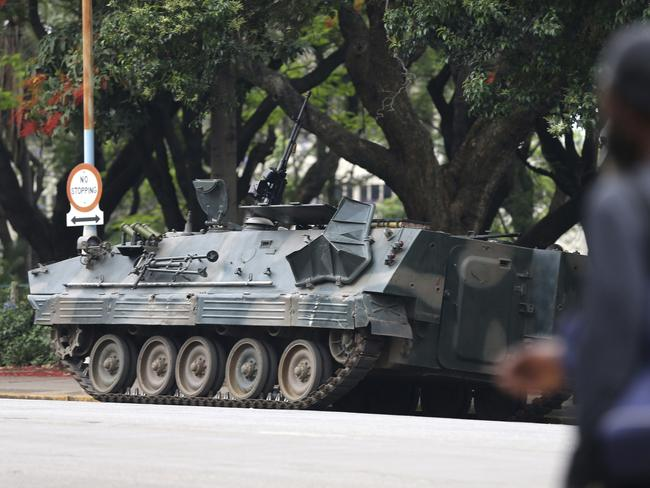 A military vehicle is seen on a street in Harare, Zimbabwe. Mugabe has been in military custody now for several days. Picture: AP