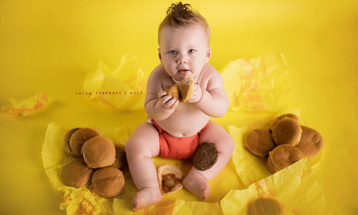 Forget a cake smash, this baby got a cheeseburger smash