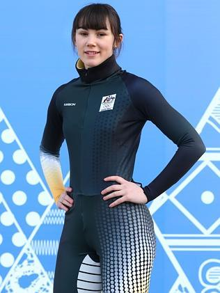 Australian short track speed skater Deanna Lockett poses wearing competition wear / Picture:Getty Images