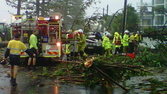 This Twitter picture from Channel Nine News shows emergency personnel at Bargara after the mini tornado hit. PIC: Courtesy Nine News.