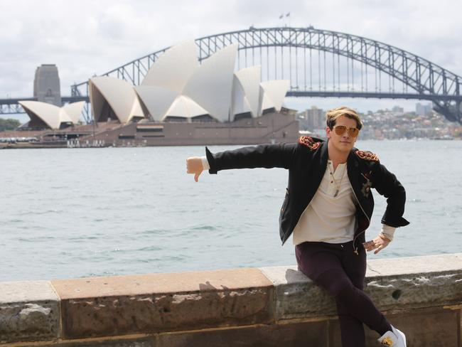 Milo Yiannopoulos is 'ready to offend Australia', he said as he arrived in Sydney. Picture: Nathan Richter