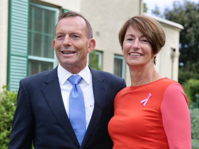 Pictured at one of their few public engagements together. Tony Abbott and his wife Margie, hosted to a Mother's Day event at Kirribilli House.