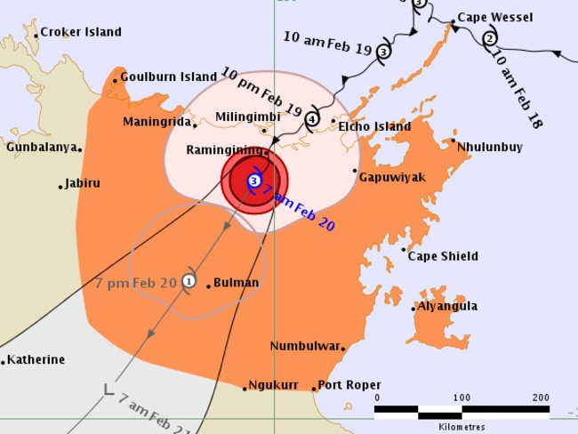 Forecast track map for Cyclone Lam from the Bureau of Meteorology.