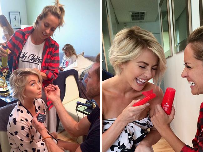 "Behind The Scenes Emmy Awards 2014... Actress Julianne Hough posts, ""Thanks glam squad!!! Haha you really are the best in the biz! Love you guys @anitapatrickson @emmarube @spencerbarnesla @riawnacapri @morganbeau @kristysowin it takes a village yo!... Getting ready for the Emmys! Haha @riawnacapri and I trying out @LusterPremWhite's Pro Light system! This is my new favorite toy for whiter teeth!! Woot woot! :)"" Picture: Instagram"