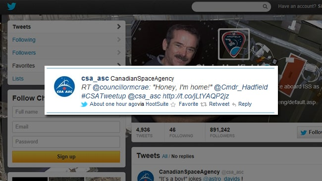 Commander Chris Hadfield's tweet to his wife Helene on his return from space.