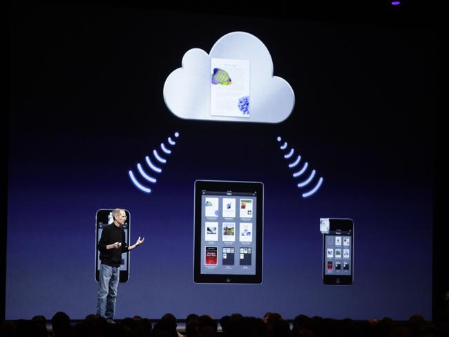 The iCloud explained by the late Steve Jobs. Picture: AP Photo/Marcio Jose Sanchez