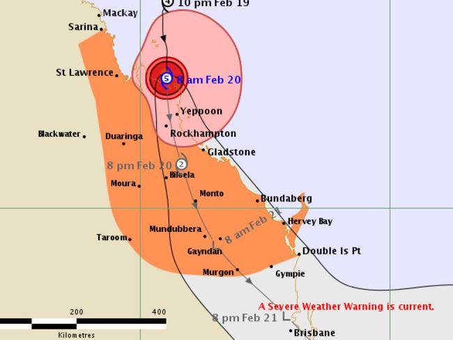 Current tracking forecast for Cyclone Marcia from the Bureau of Meteorology.