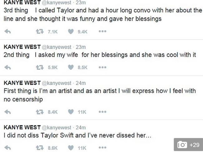Kanye West has Twitter words about Taylor Swift.