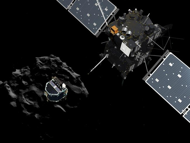 Space travel ... an artist's impression of Philae separating from its mothership Rosetta and descending to the surface of comet 67P/Churyumov-Gerasimenko. Picture: AFP/ ESA/ATG MEDIALAB