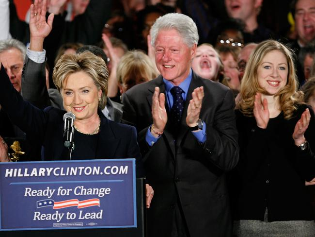 Family matters ... Chelsea with her parents during Hillary Clinton's 2008 presidential run. Picture: AP/Charlie Neibergall