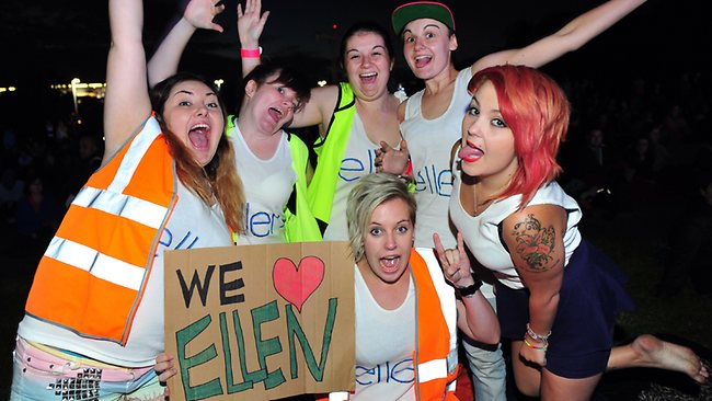 Friends from Latrobe University arrived at 3.30am queue up early to see Ellen at Birrarung Marr, Melbourne. L to R: Victoria, Amanda, Felicia, Sarah, Adele and Caity. Picture: Nicole Garmston