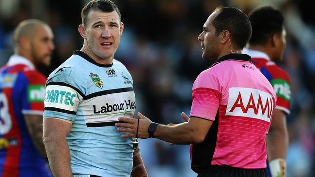 A bicep injury couldn't prevent Paul Gallen from putting in a wholehearted performance. Pic: Brett Costello