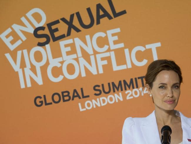 Actress Angelina Jolie arrives at the 'End Sexual Violence in Conflict' summit in London.