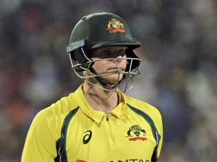 Australia's Steve Smith walks back to the pavilion after being dismissed during the second one-day international cricket match against India at Eden Gardens in Kolkata, India, Thursday, Sept. 21, 2017. (AP Photo/Bikas Das)