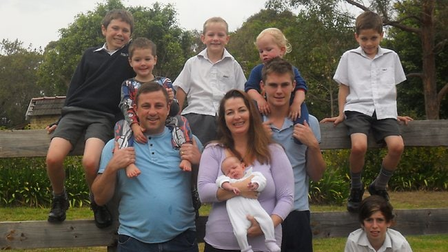 Meredith Marshall, husband Lindsey and her eight boys Andre, Leon, Joel, Beau, Carl, Evan, Theo and Zane. Picture: Supplied