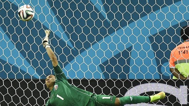 Costa Rica's goalkeeper Keylor Navas makes the big save.