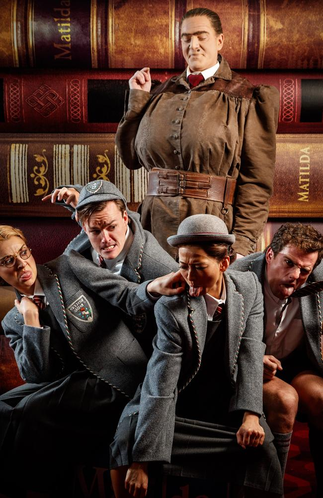 The evil Miss Trunchbull and her troublesome children in Matilda. Picture: Matt Turner.
