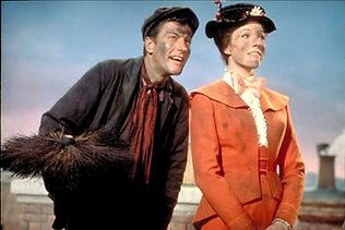 Actors Dick Van Dyke and Julie Andrews in a scene from the 1964 film 'Mary Poppins'.