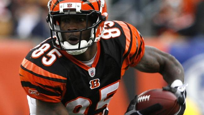 Chad Ochocinco makes a run for the Cincinnati Bengals in the NFL.