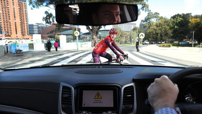 The V2P technology allows motorist and cyclist to know when a their maybe a collision. Picture: Kelly Barnes/The Australian.