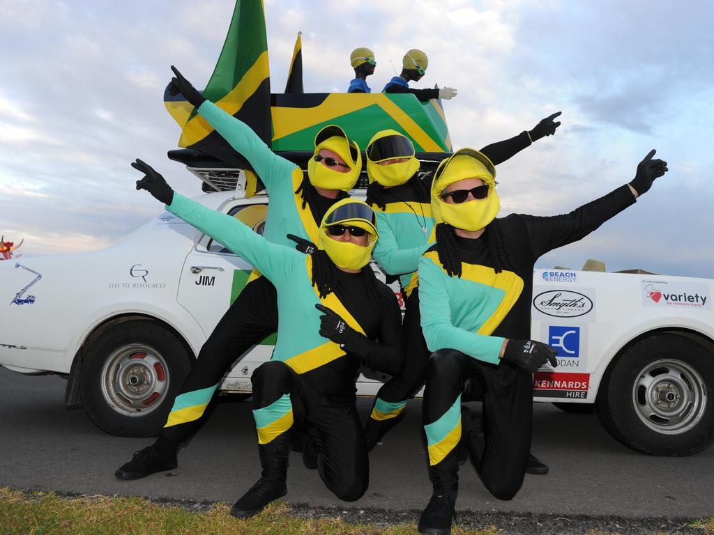 Team Jamaican Bobsled were ready and raring. Photo Naomi Jellicoe