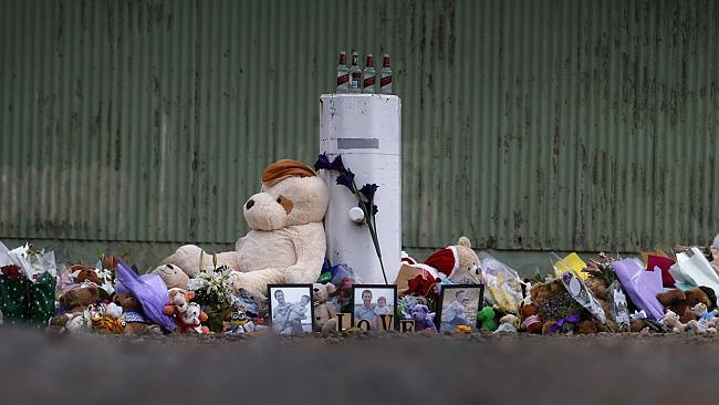 The memorial which has been set up in Port Lincoln for the family. Picture: Dean Martin