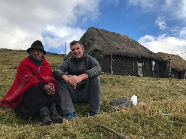 Kathmandu chief environment officer Tim Jarvis with a local resident who lives at 4100m on the flanks of Carihuairazo volcanic caldera in Ecuador. Source: Tim Jarvis/25 zero.