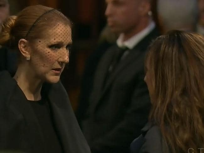 Mourning ... The Canadian superstar personally greeted fans who had come to pay their respects to her late husband, Rene Angelil. Picture: CTV News