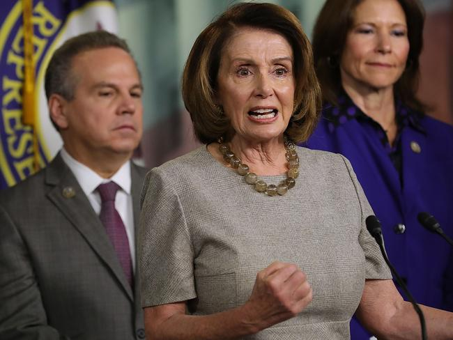 House Minority Leader Nancy Pelosi talks to reporters while announcing the House Democrats' new infrastructure plan during a news conference. Picture: AFP